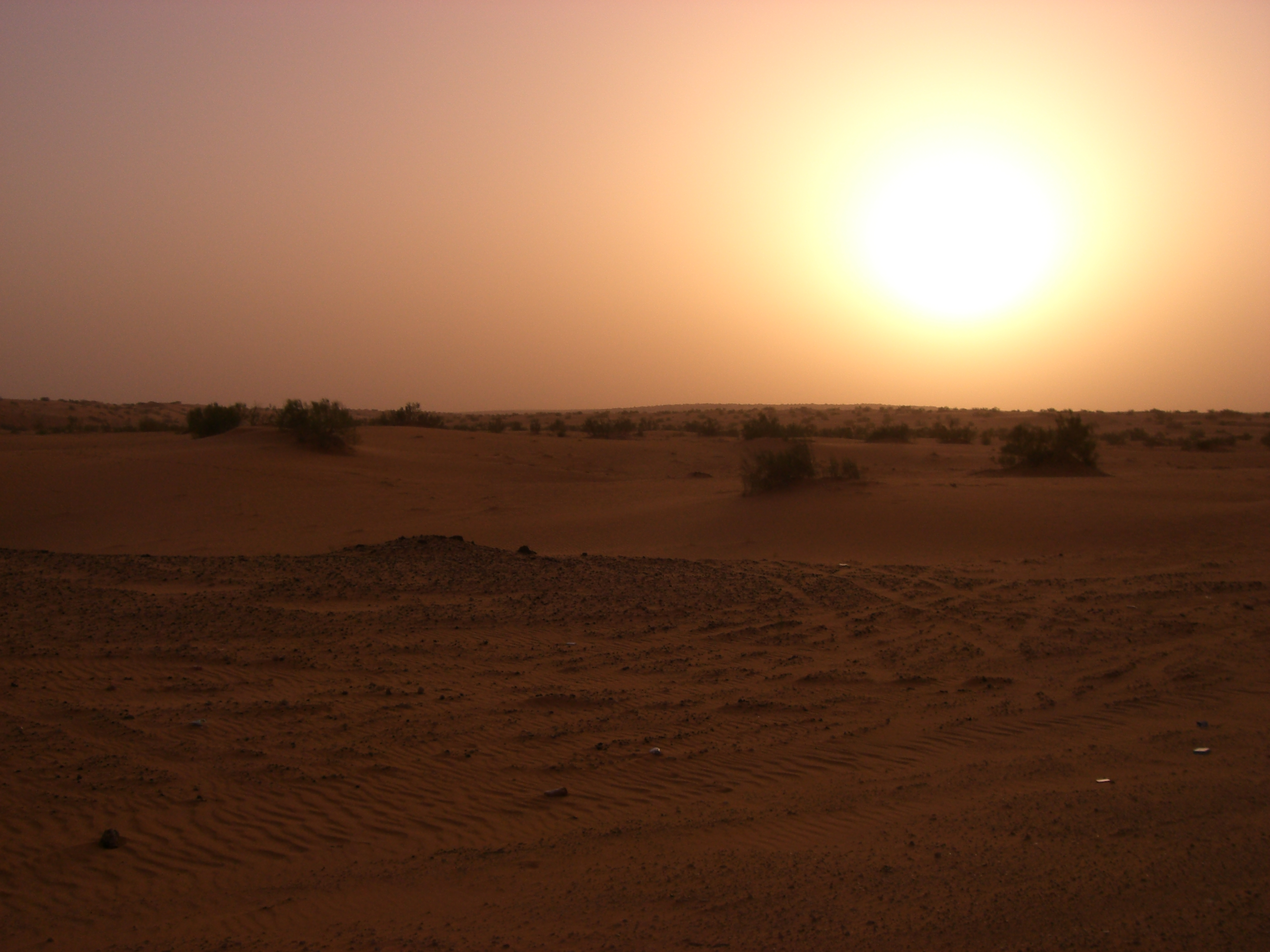 Desert of Saudi Arabia at sun down.