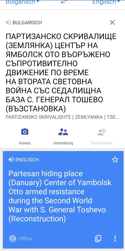 Übersetzung von Google